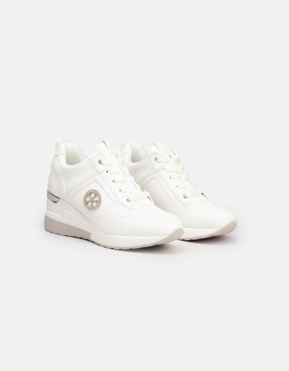 Εικόνα από Γυναικεία sneakers με εσωτερικό τακούνι Λευκό