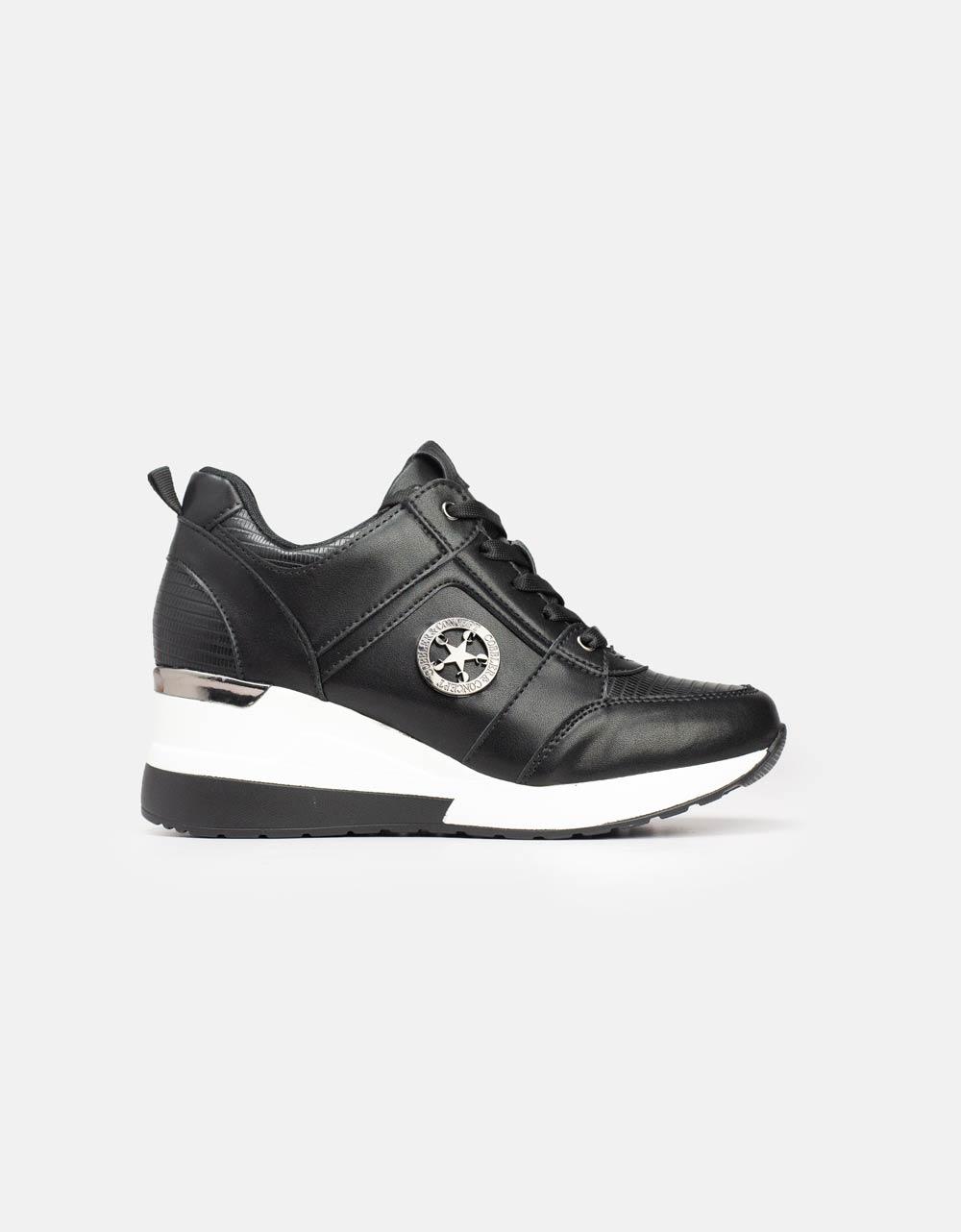 Εικόνα από Γυναικεία sneakers με εσωτερικό τακούνι Μαύρο