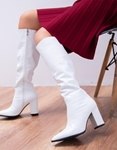 Εικόνα από Γυναικείες μπότες με κροκό μοτίβο Λευκό