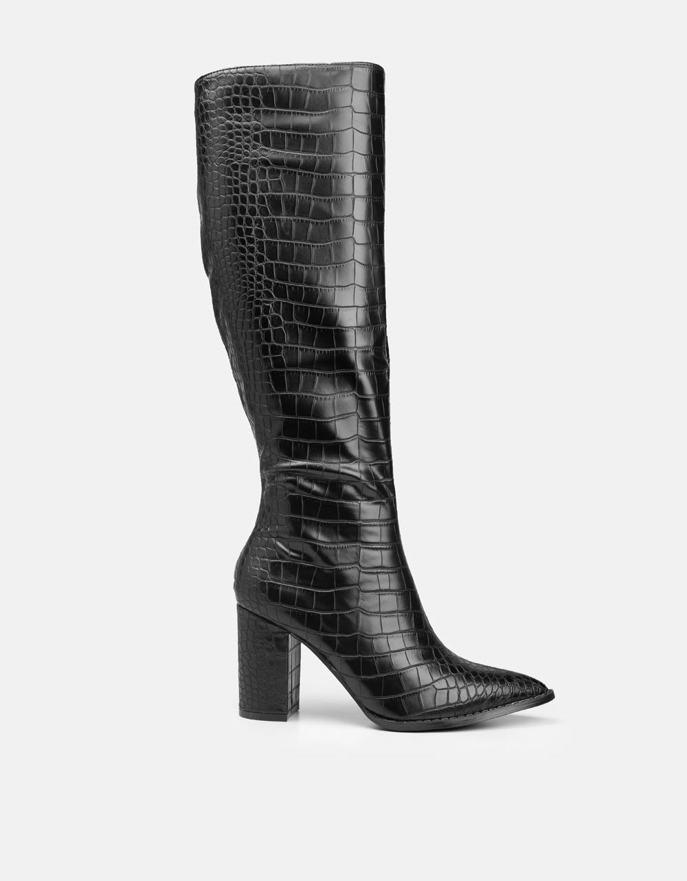 Εικόνα από Γυναικείες μπότες με κροκό μοτίβο Μαύρο