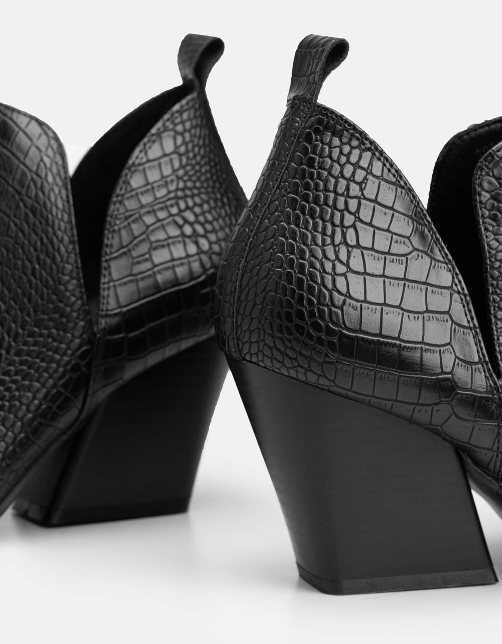Εικόνα από Γυναικεία μποτάκια με μεταλλική λεπτομέρεια στο μπροστινό μέρος Μαύρο