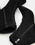 Εικόνα από  Γυναικεία μποτάκια suede με κορδόνια Μαύρο