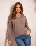 Εικόνα από Γυναικεία μπλούζα με δαντέλα στους ώμους Γκρι