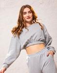 Εικόνα από Γυναικεία μπλούζα φούτερ με λάστιχο Γκρι