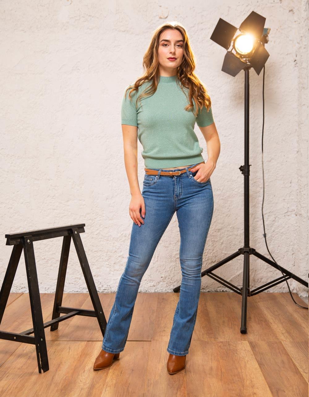 Εικόνα από Γυναικεία μπλούζα γυαλιστερή Πράσινο