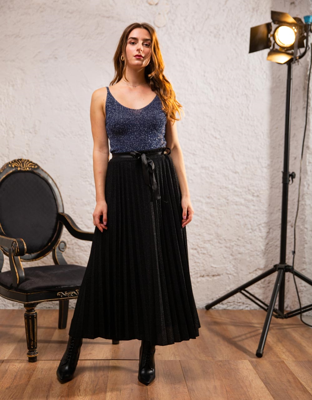 Εικόνα από Γυναικεία μπλούζα τοπ τιραντάκι lurex Μπλε