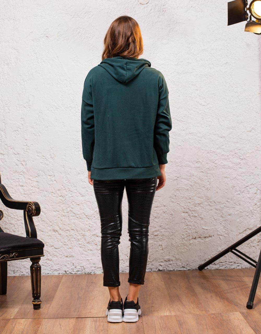 Εικόνα από Γυναικεία ζακέτα velvet Πράσινο