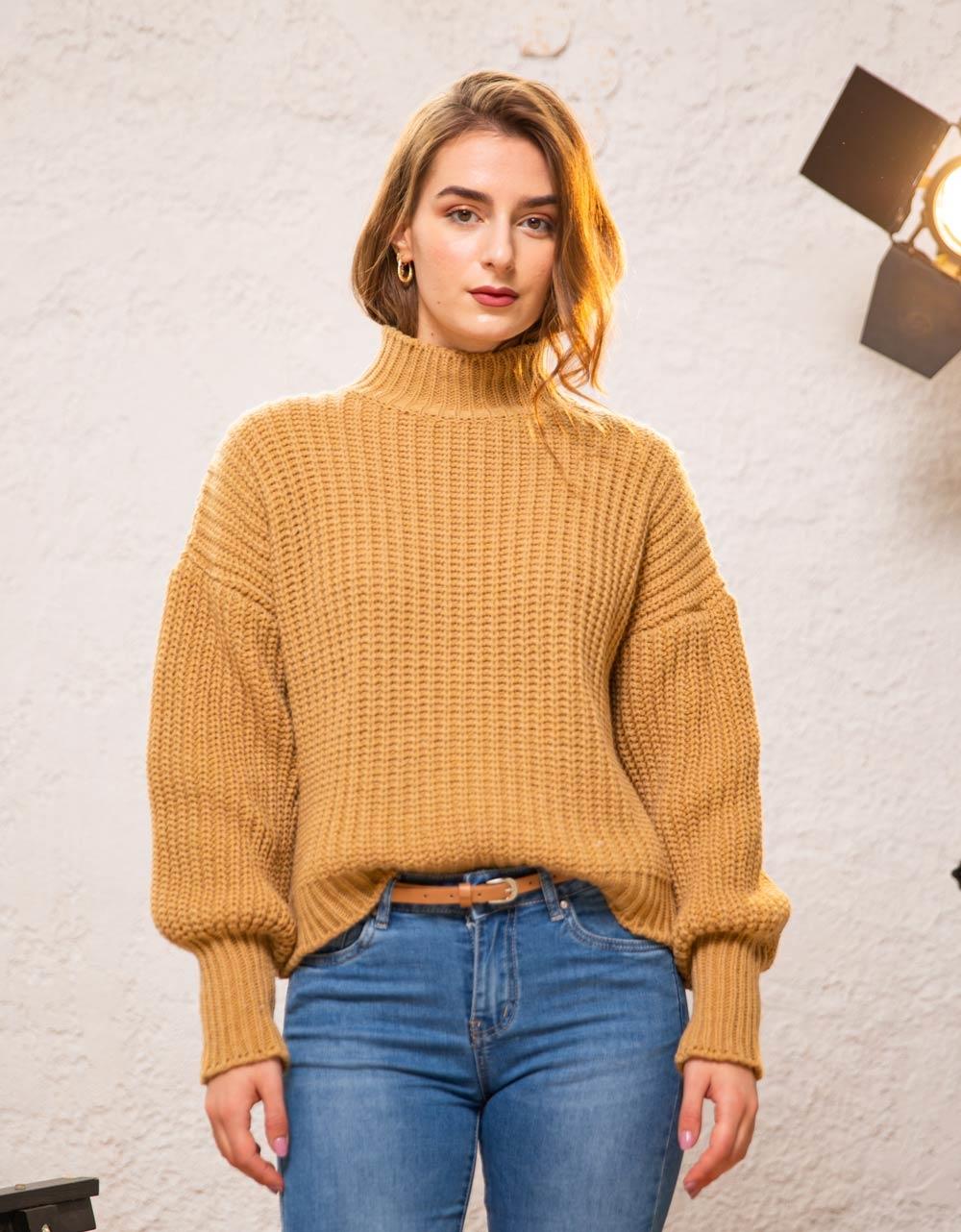 Εικόνα από Γυναικεία μπλούζα πλεκτή ζιβάγκο Καφέ