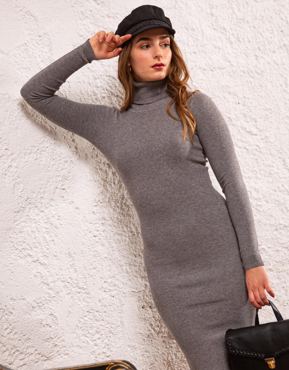 Εικόνα από Γυναικείο φόρεμα ζιβάγκο σε στενή γραμμή μίντι Γκρι