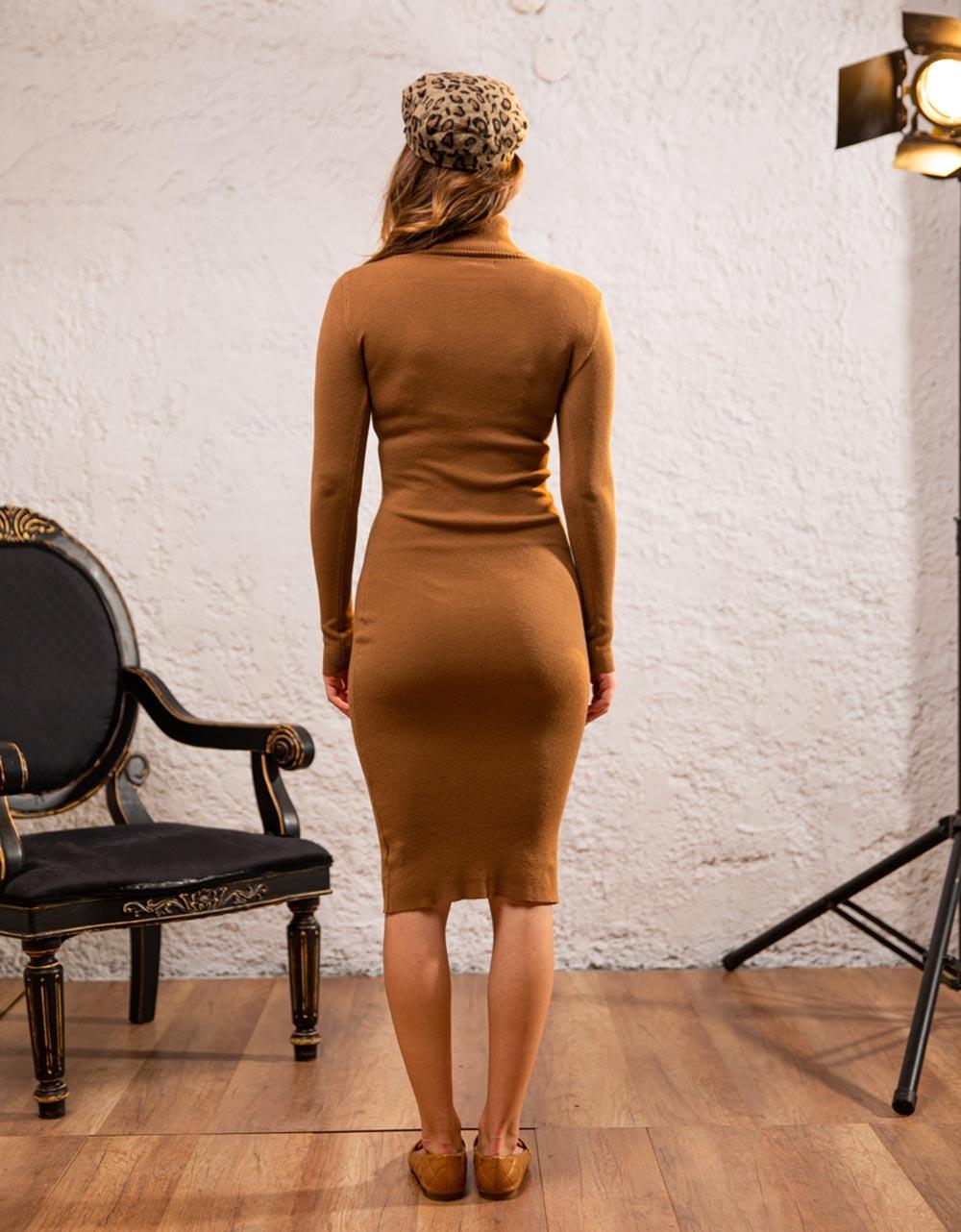 Εικόνα από Γυναικείο φόρεμα ζιβάγκο σε στενή γραμμή μίντι Καφέ