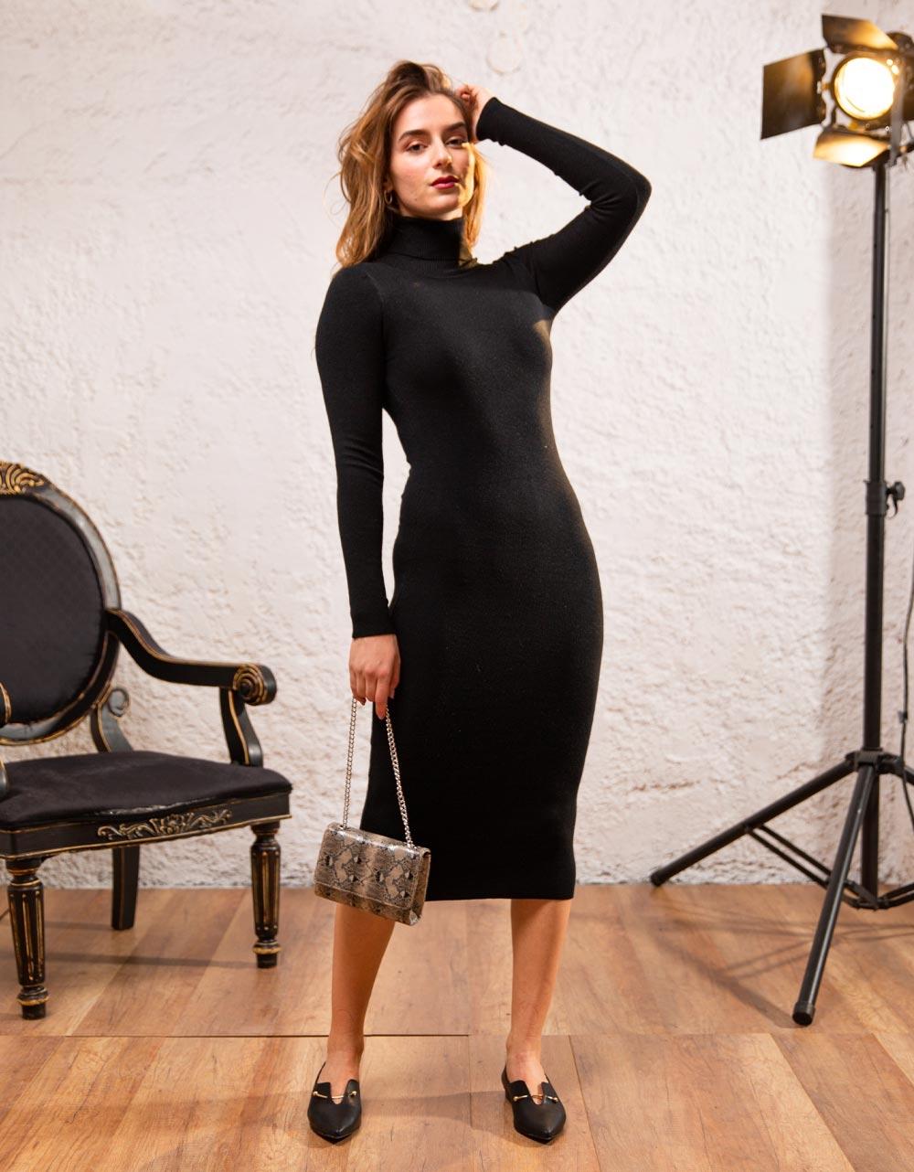 Εικόνα από Γυναικείο φόρεμα ζιβάγκο σε στενή γραμμή μίντι Μαύρο