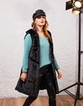 Εικόνα από Γυναικείο παλτό αμάνικο από οικολογική γούνα Μαύρο