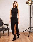Εικόνα από Γυναικείο φόρεμα με σκίσιμο και κουμπιά Μαύρο