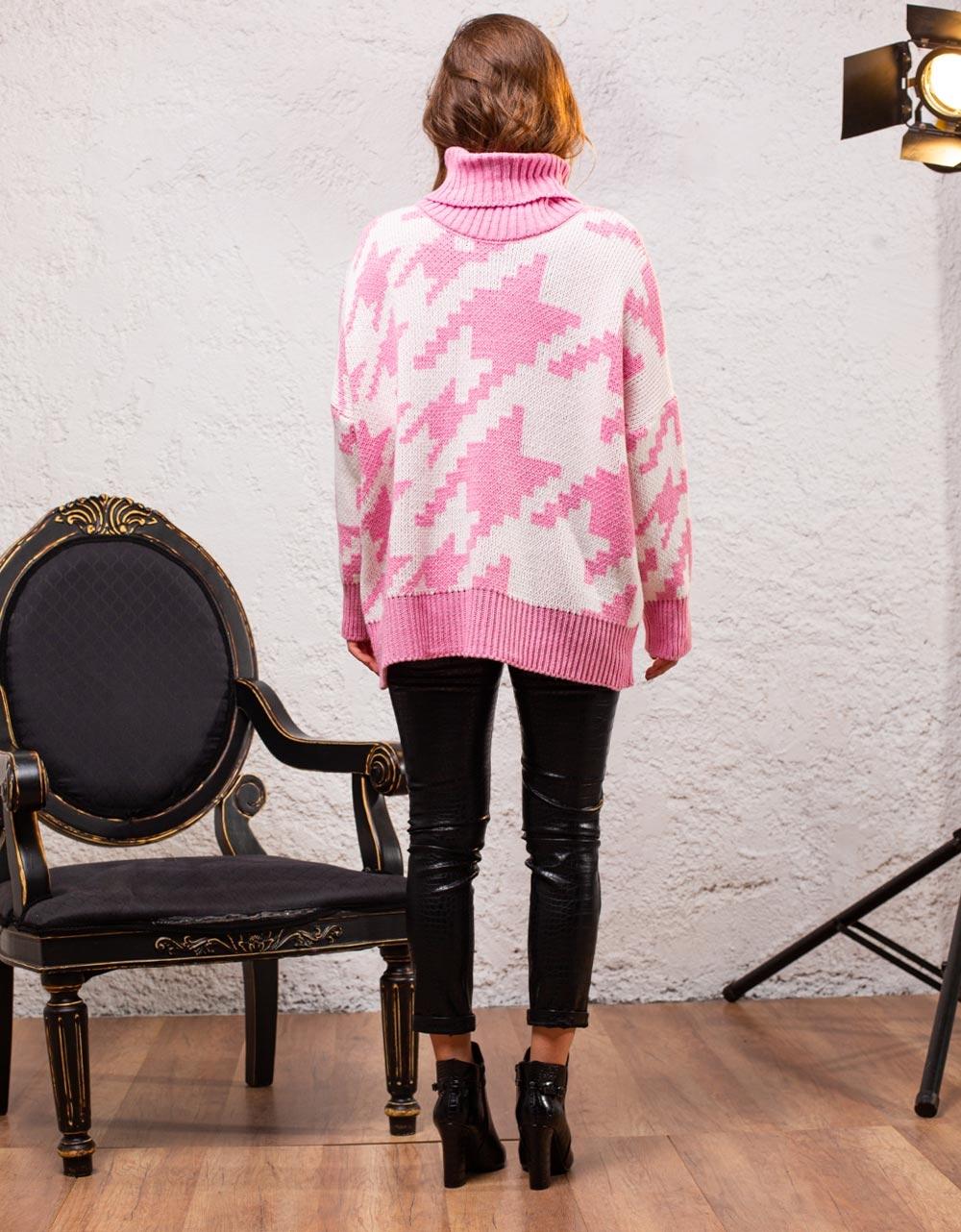 Εικόνα από Γυναικεία μπλούζα ζιβάγκο με σχέδια Ροζ