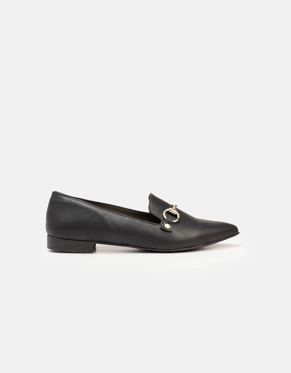 Εικόνα από Γυναικεία loafers με μεταλλικό διακοσμητικό Μαύρο