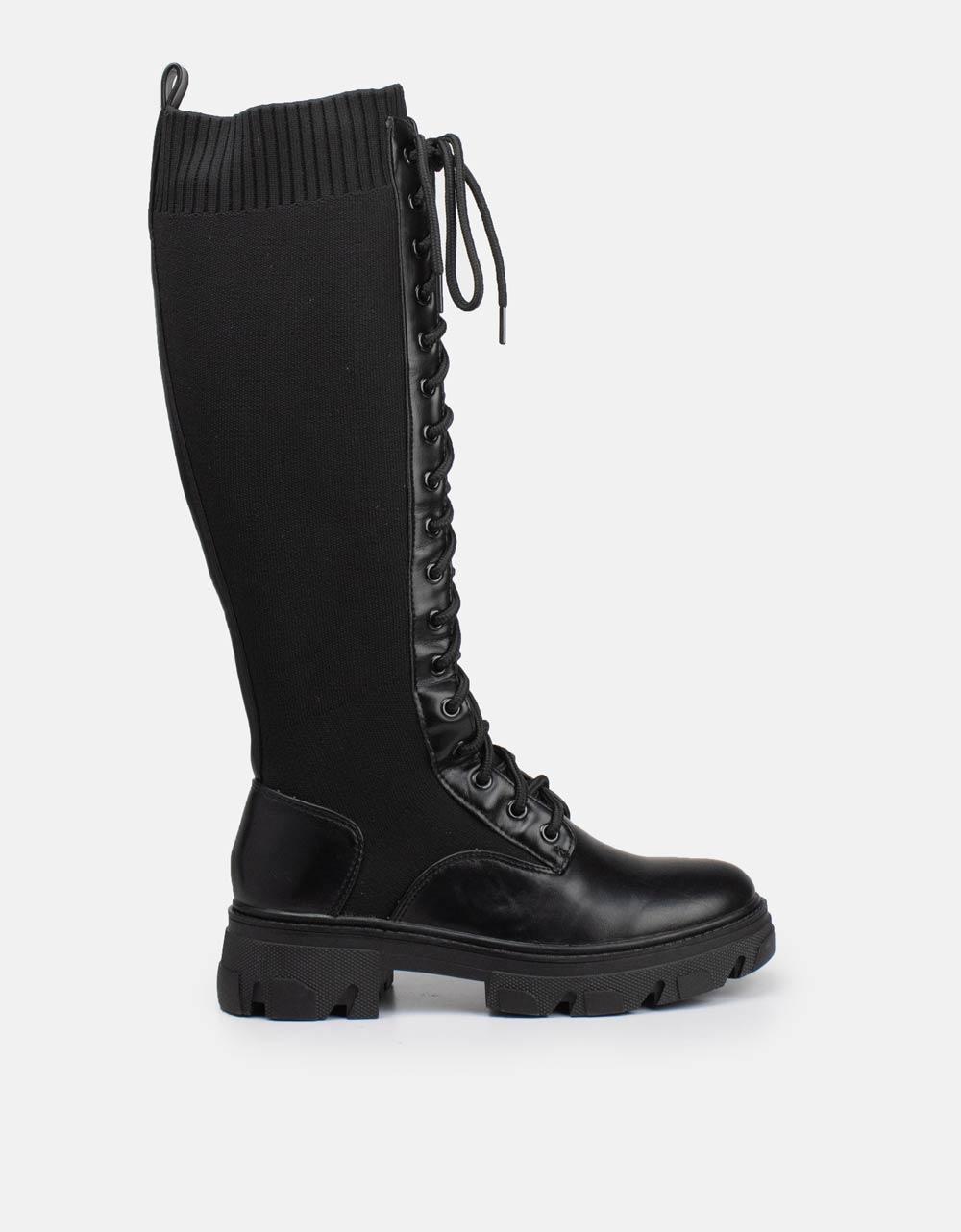 Εικόνα από Γυναικείες μπότες ελαστικές με κορδόνια Μαύρο
