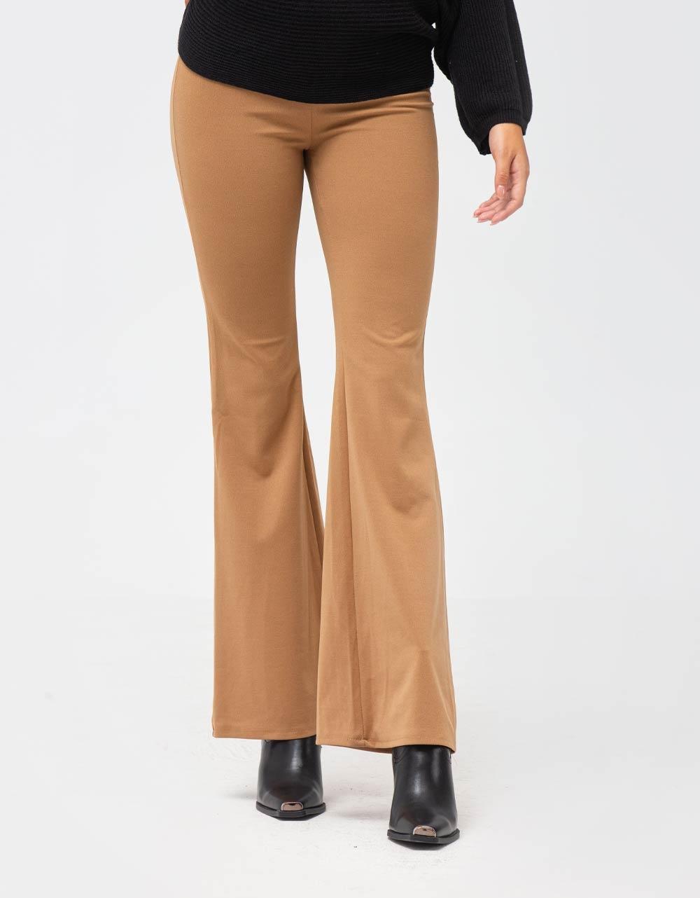 Εικόνα από Γυναικείο παντελόνι ψηλόμεσο καμπάνα Μπεζ