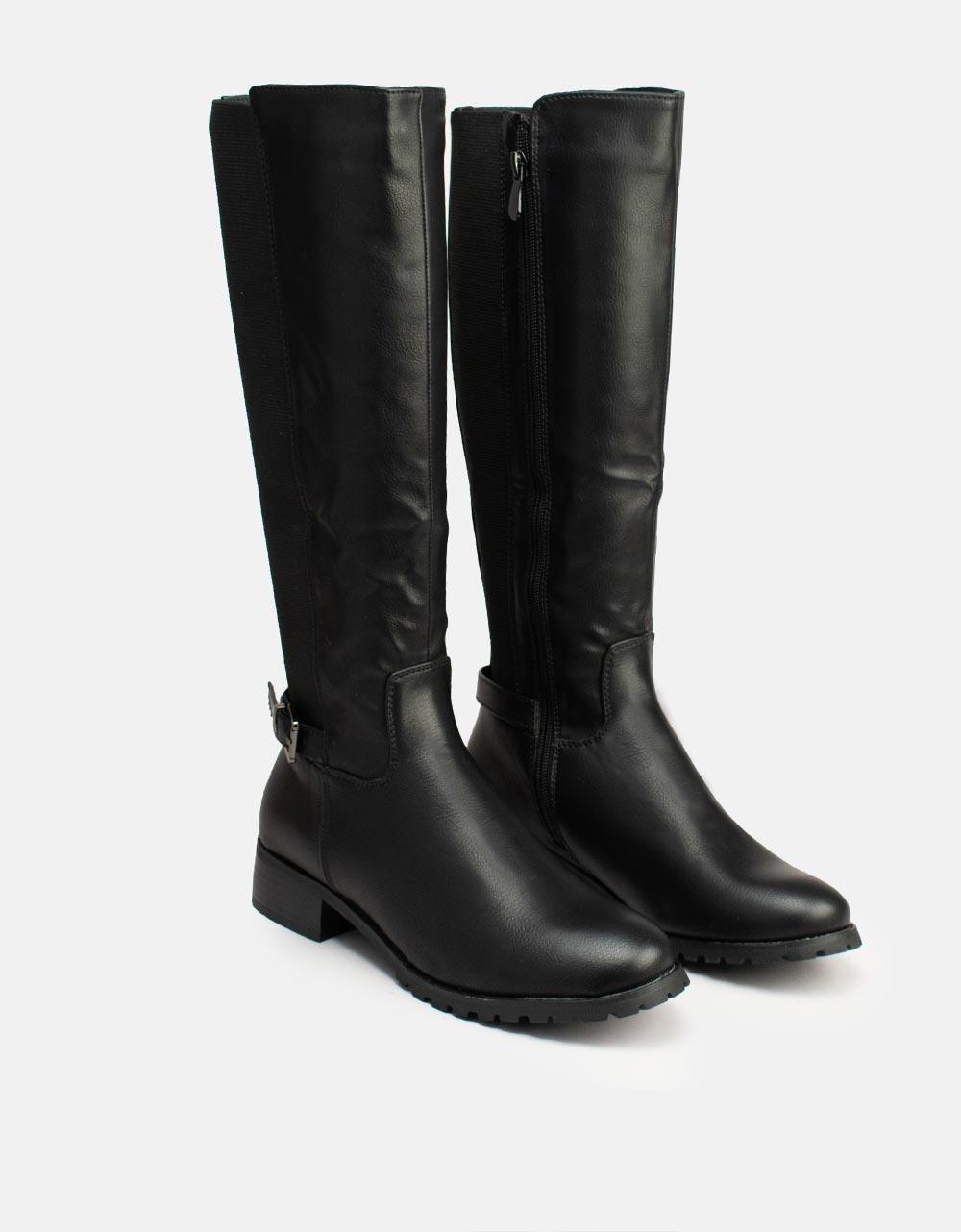 Εικόνα από Γυναικείες μπότες casual με τρακτερωτή ελατική σόλα Μαύρο