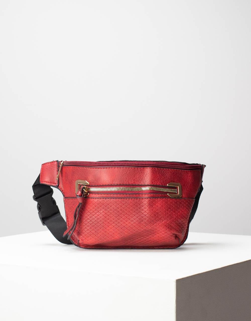 Εικόνα από Γυναικεία τσάντα μέσης με δύο θήκες Κόκκινο
