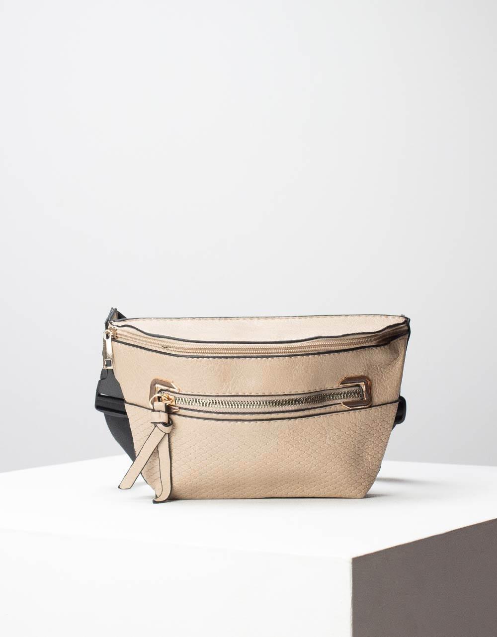 Εικόνα από Γυναικεία τσάντα μέσης με δύο θήκες Μπεζ