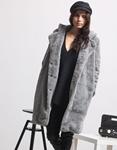 Εικόνα από Γυναικείo παλτό από οικολογική γούνα Γκρι