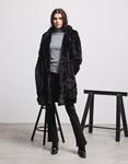 Εικόνα από Γυναικείo παλτό από οικολογική γούνα Μαύρο