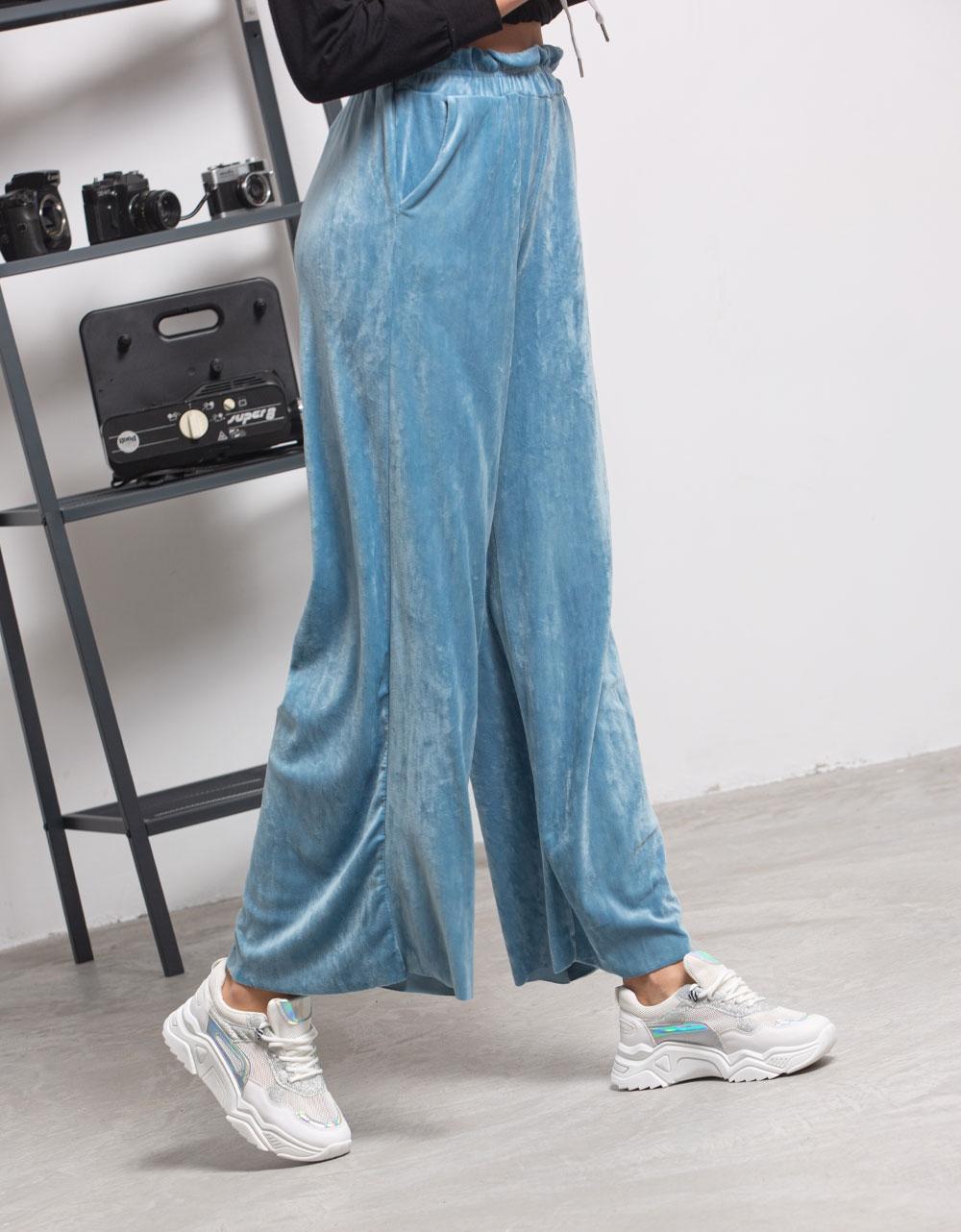 Εικόνα από Γυναικείο παντελόνι με λάστιχο βελουτέ Σιέλ