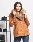 Εικόνα από Γυναικείo μπουφάν με αποσπώμενο γουνάκι και ζώνη Ταμπά