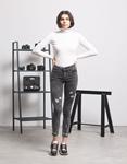Εικόνα από Γυναικείο παντελόνι ψηλόμεσο με φθορές Γκρι