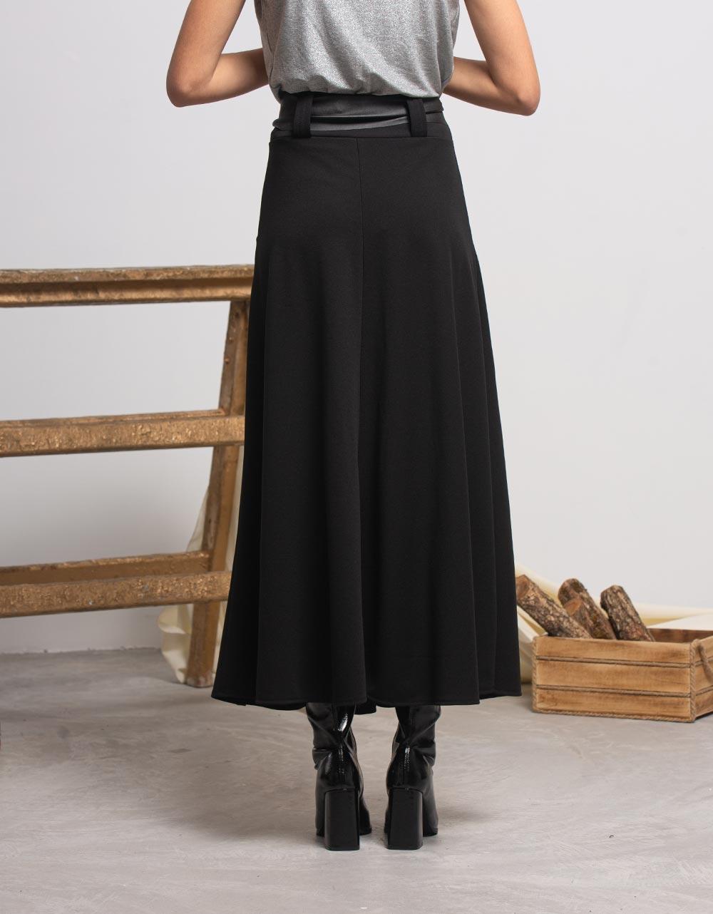 Εικόνα από Γυναικεία φούστα μακριά με ζωνάκι Μαύρο