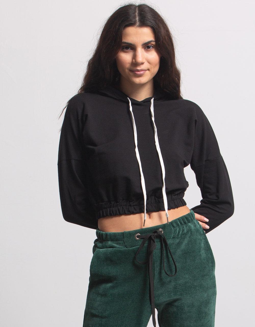 Εικόνα από Γυναικεία μπλούζα με λάστιχο Μαύρο