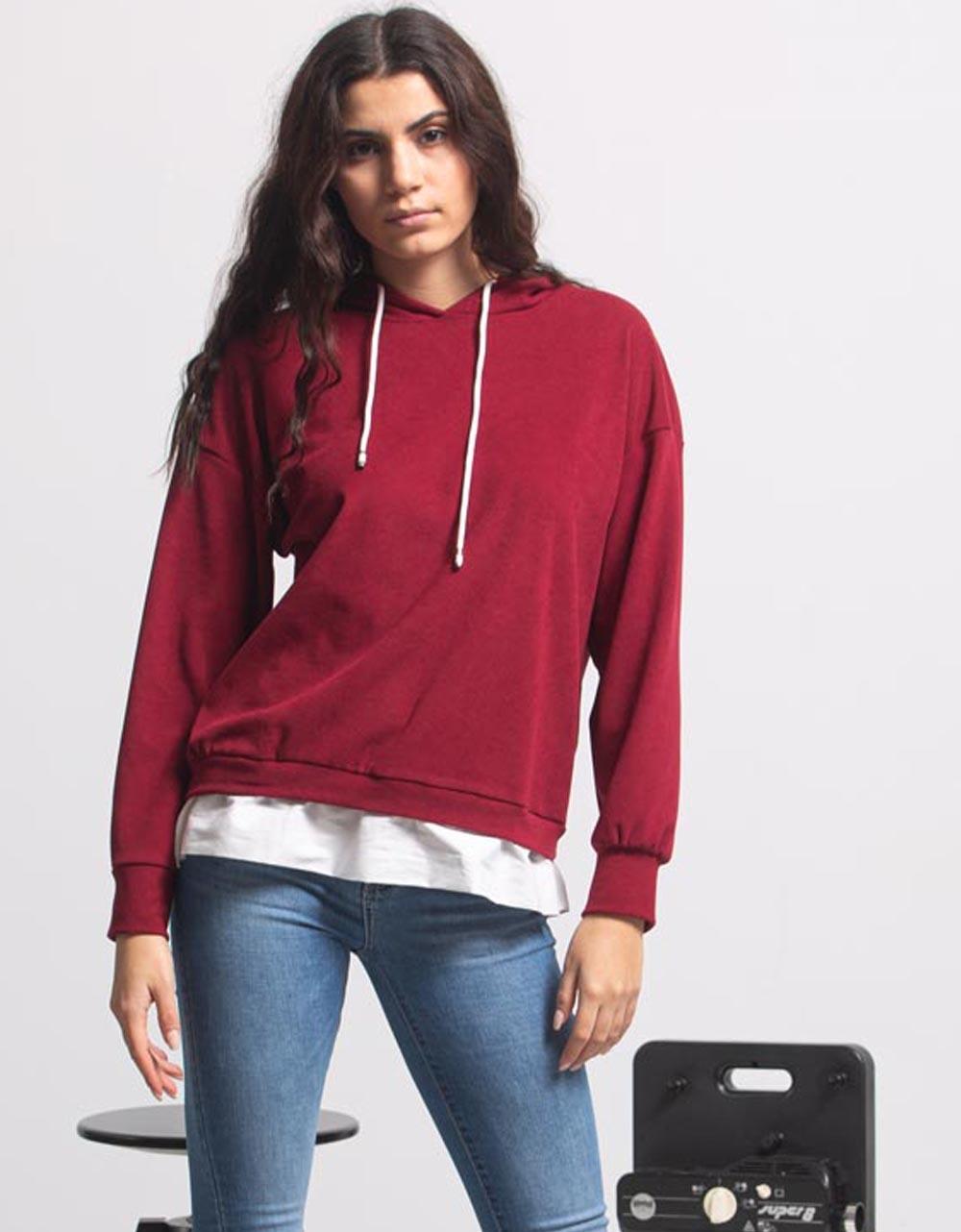 Εικόνα από Γυναικεία μπλούζα με κουκούλα Κόκκινο