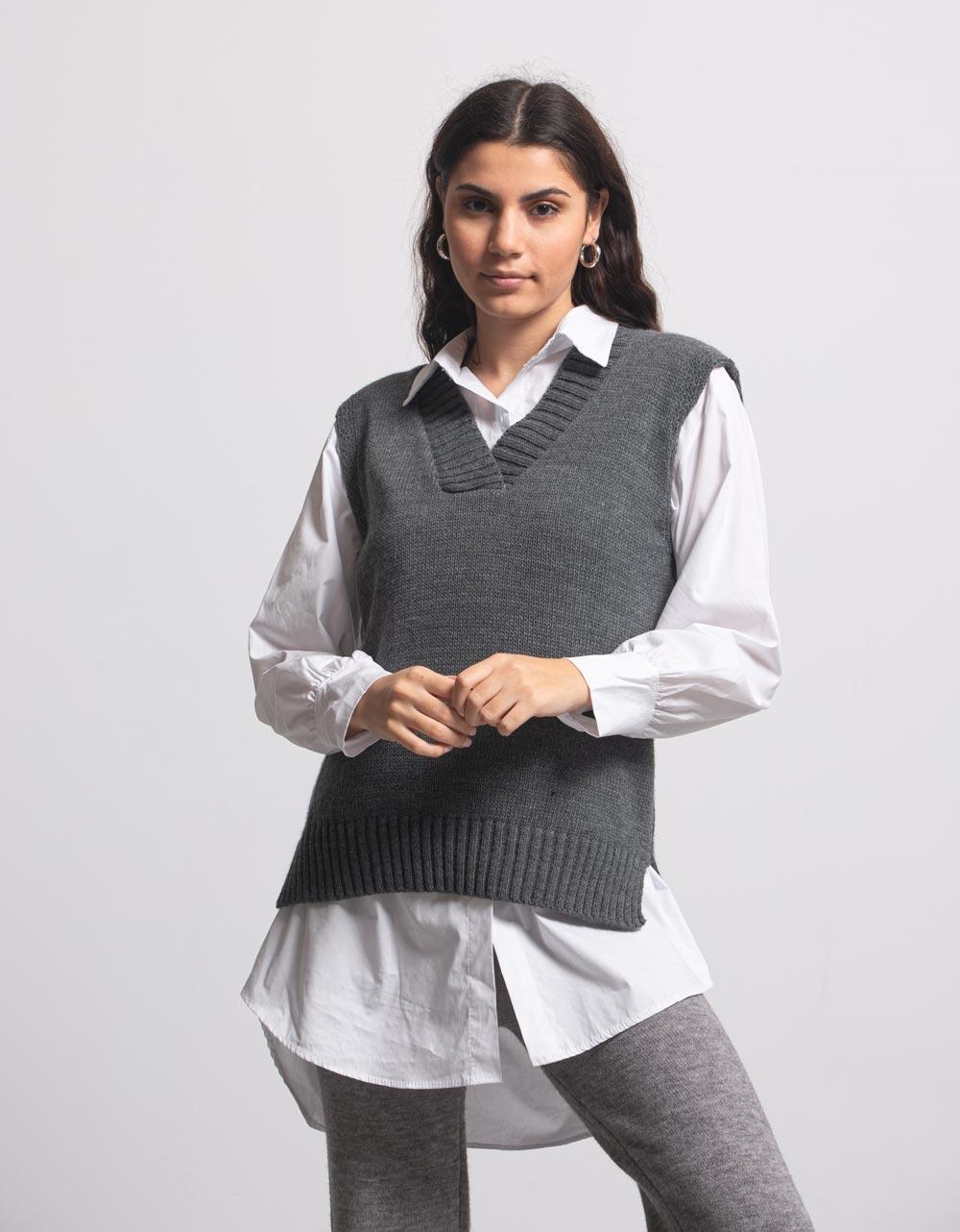 Εικόνα από Γυναικεία μπλούζα γιλέκο πλεκτό Γκρι