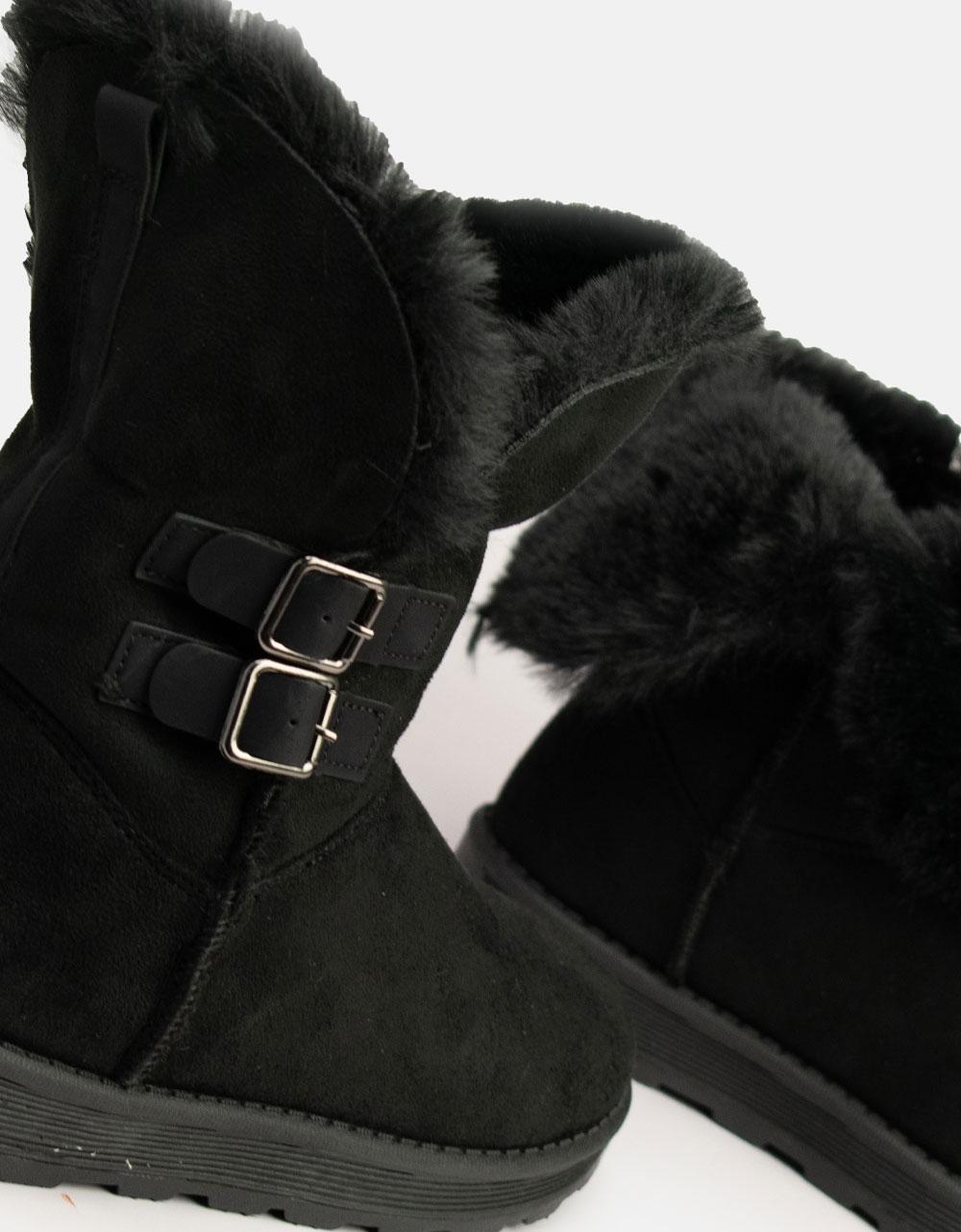 Εικόνα από Γυναικεία μποτάκια με διακοσμητικά λουράκια Μαύρο