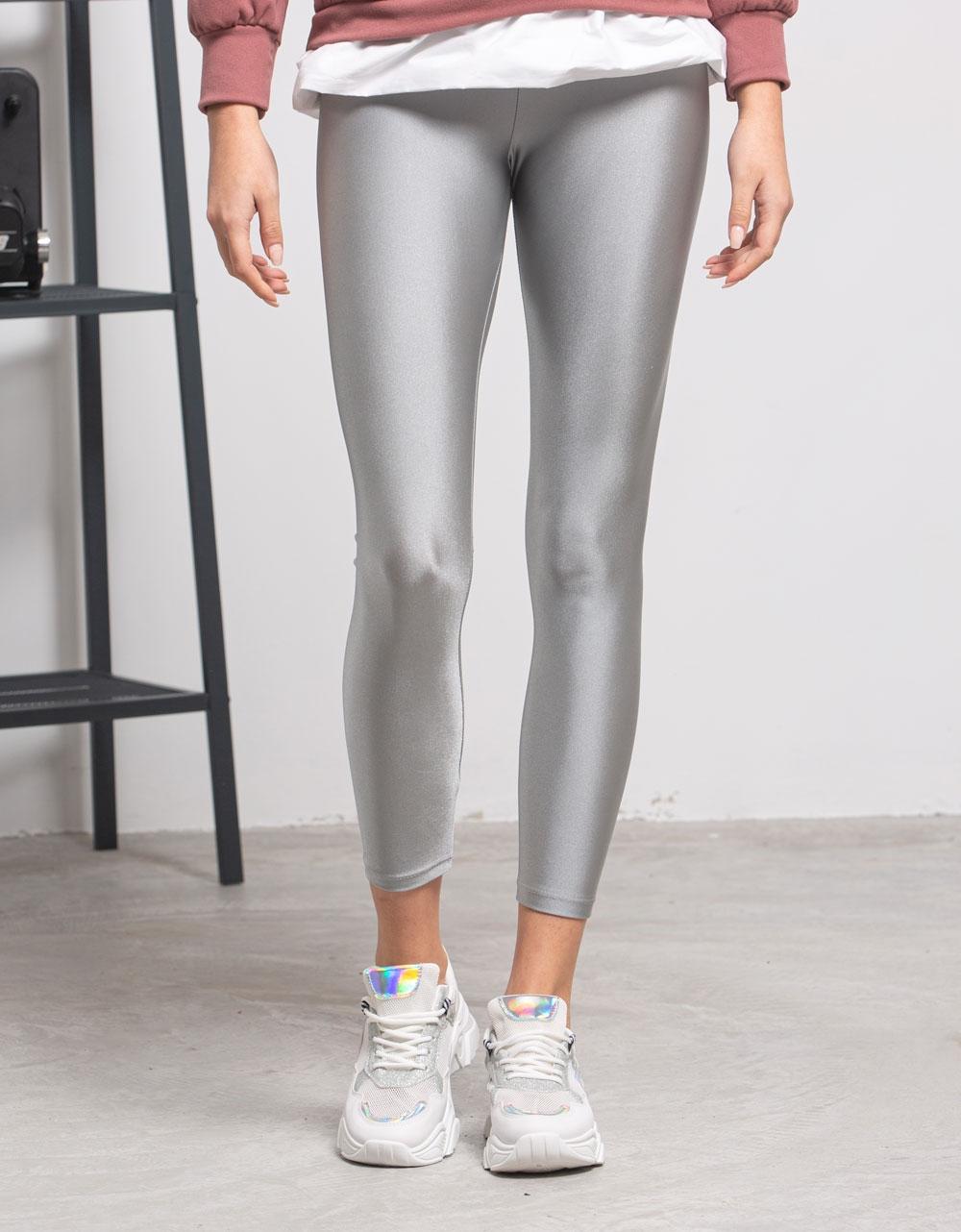 Εικόνα από Γυναικείο παντελόνι κολάν γυαλιστερό Γκρι