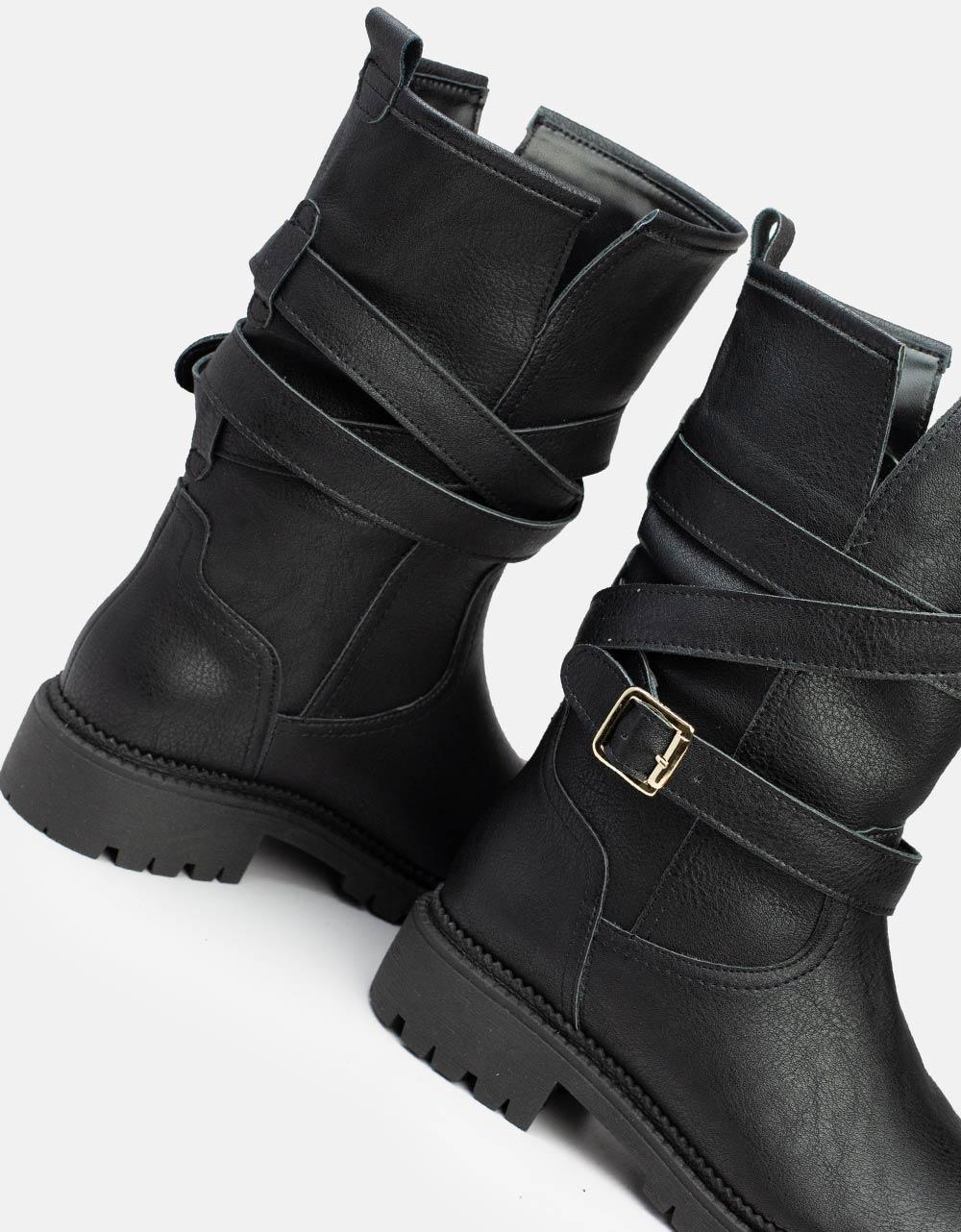 Εικόνα από Γυναικεία μποτάκια με λουράκια Μαύρο