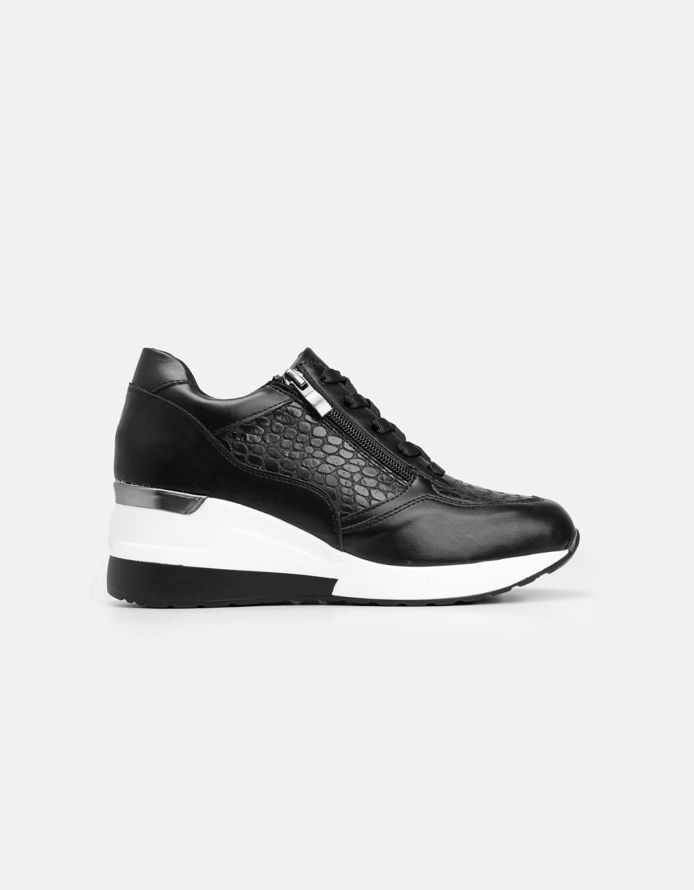 Εικόνα από Γυναικεία sneakers με φερμουάρ και κορδόνια Μαύρο