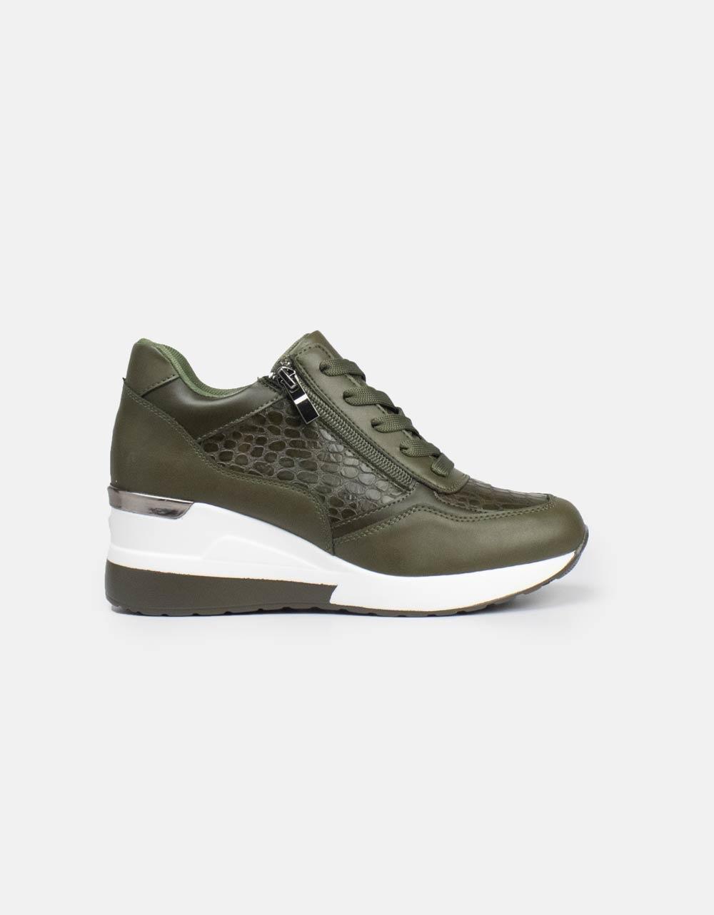 Εικόνα από Γυναικεία sneakers με φερμουάρ και κορδόνια Πράσινο
