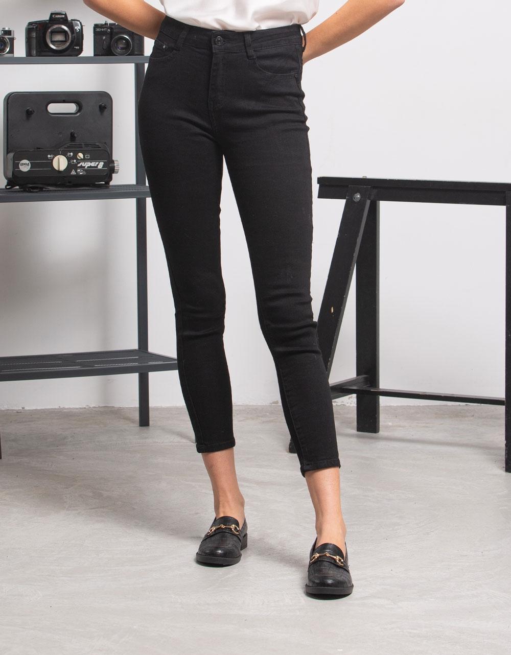 Εικόνα από Γυναικείo παντελόνι ψηλόμεσο Μαύρο