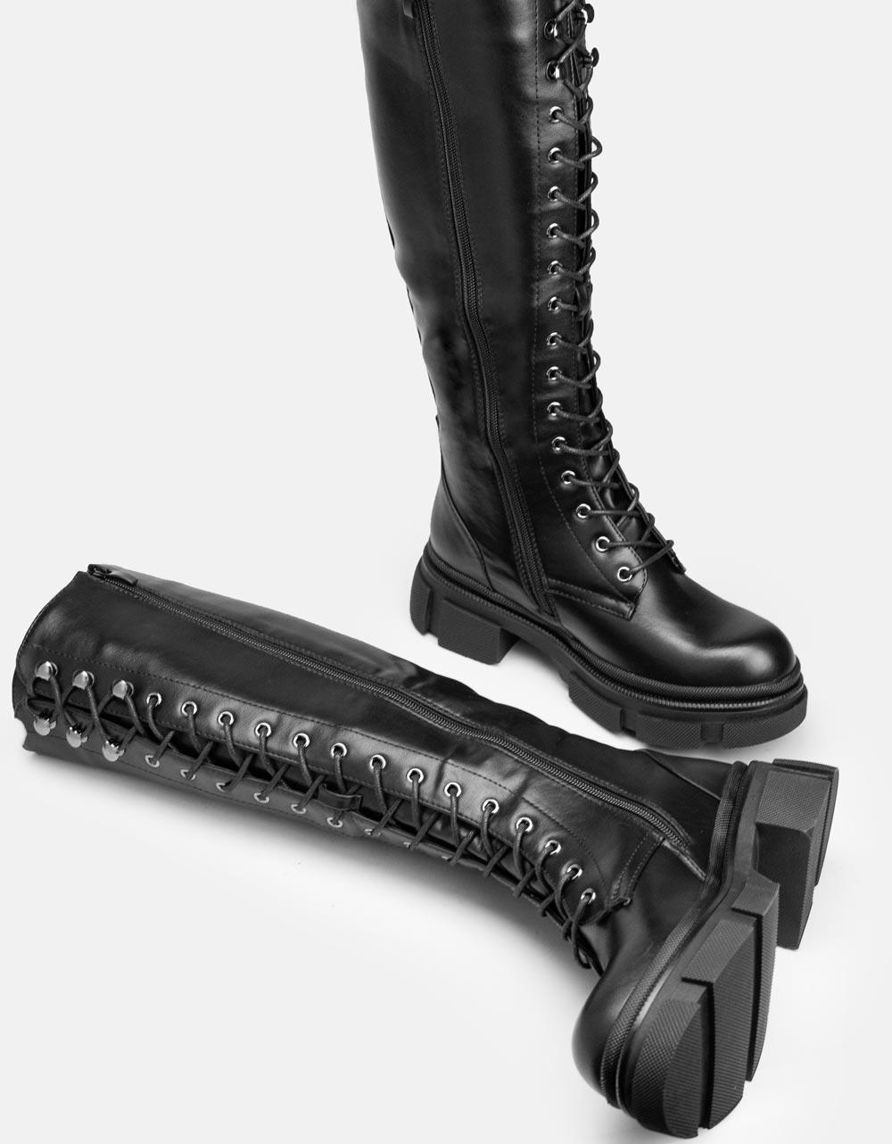 Εικόνα από Γυναικείες μπότες με τρακτερωτή σόλα Μαύρο