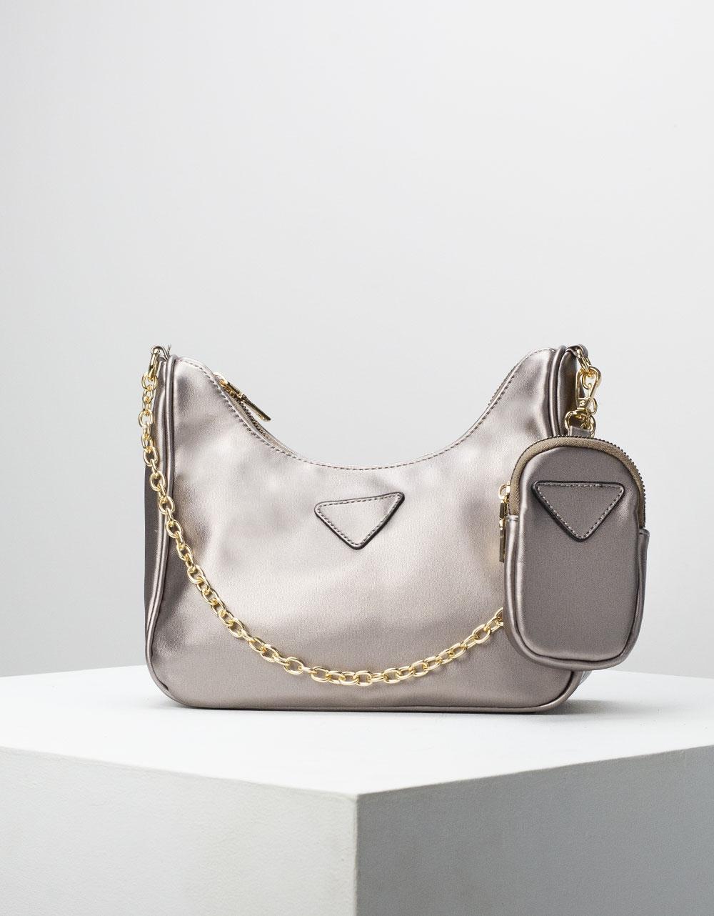 Εικόνα από Γυναικεία τσάντα ώμου & χιαστί με αλυσίδα και πορτοφόλι Ασημί