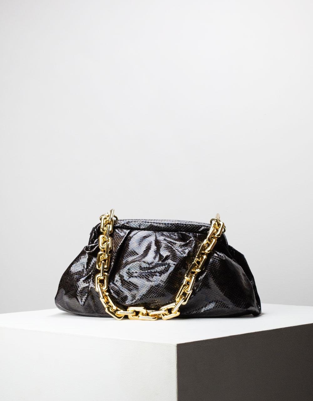 Εικόνα από Γυναικεία τσάντα ώμου & χιαστί με σούρες animal print Μαύρο