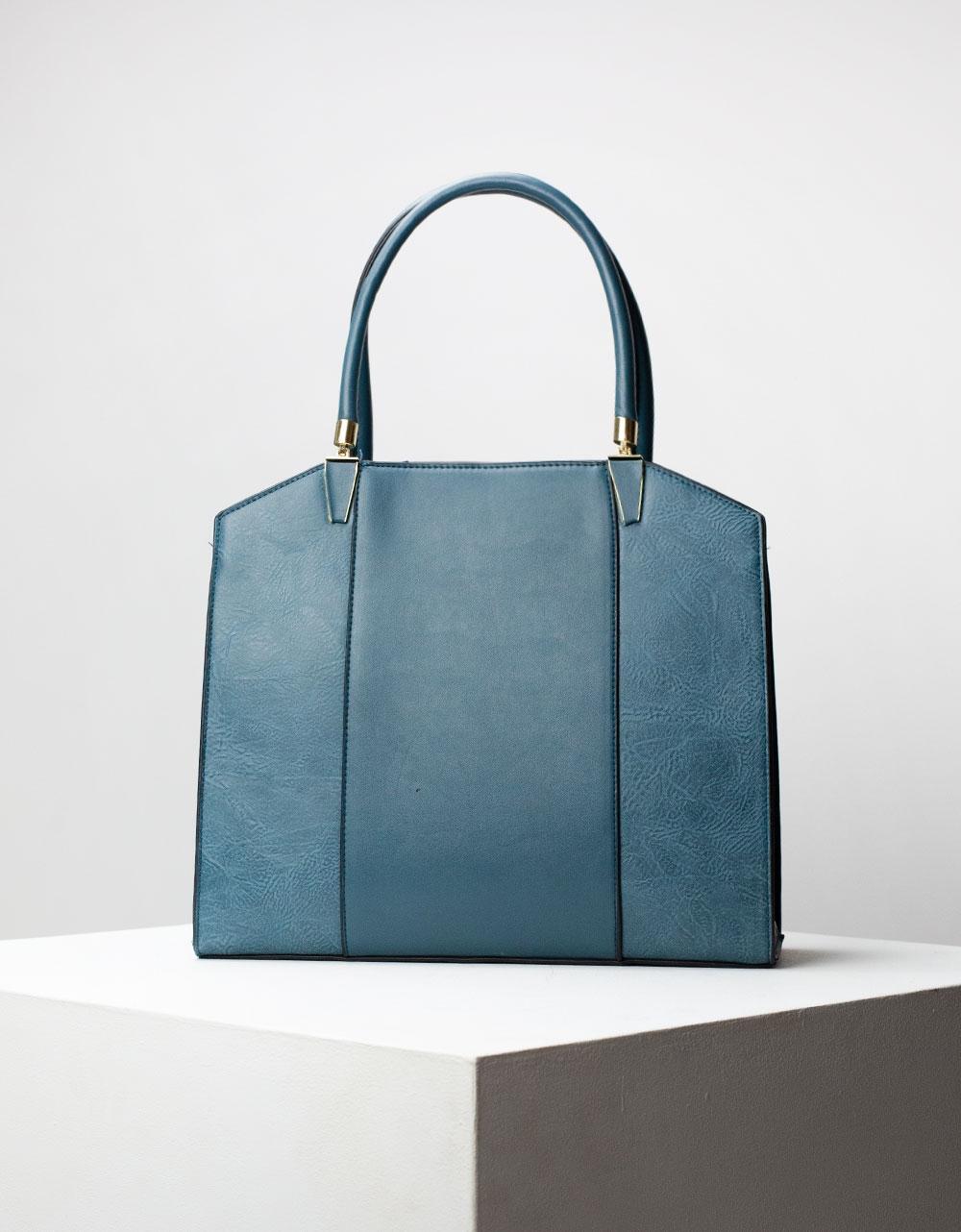 Εικόνα από Γυναικεία τσάντα ώμου με διακοσμητική ραφή Μπλε