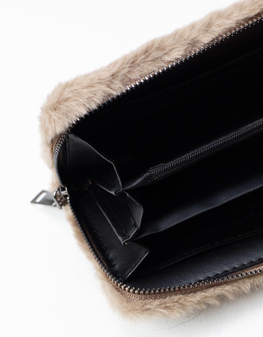 Εικόνα από Γυναικείο πορτοφόλι γούνινο Μπεζ