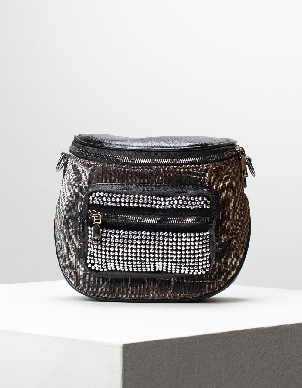 Εικόνα από Γυναικεία τσάντα ώμου & χιαστί με τρουκς στο τσεπάκι Καφέ