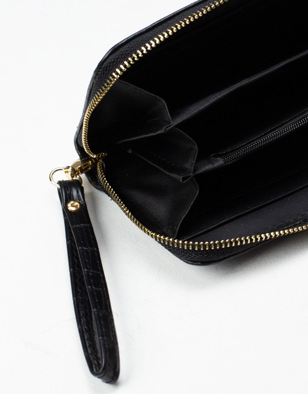 Εικόνα από Γυναικεία πορτοφόλια με κροκό σχέδιο Μαύρο