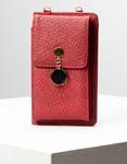 Εικόνα από Γυναικεία πορτοφόλια με εξωτερική θήκη κινητού και μεταλλικό διακοσμητικό Κόκκινο