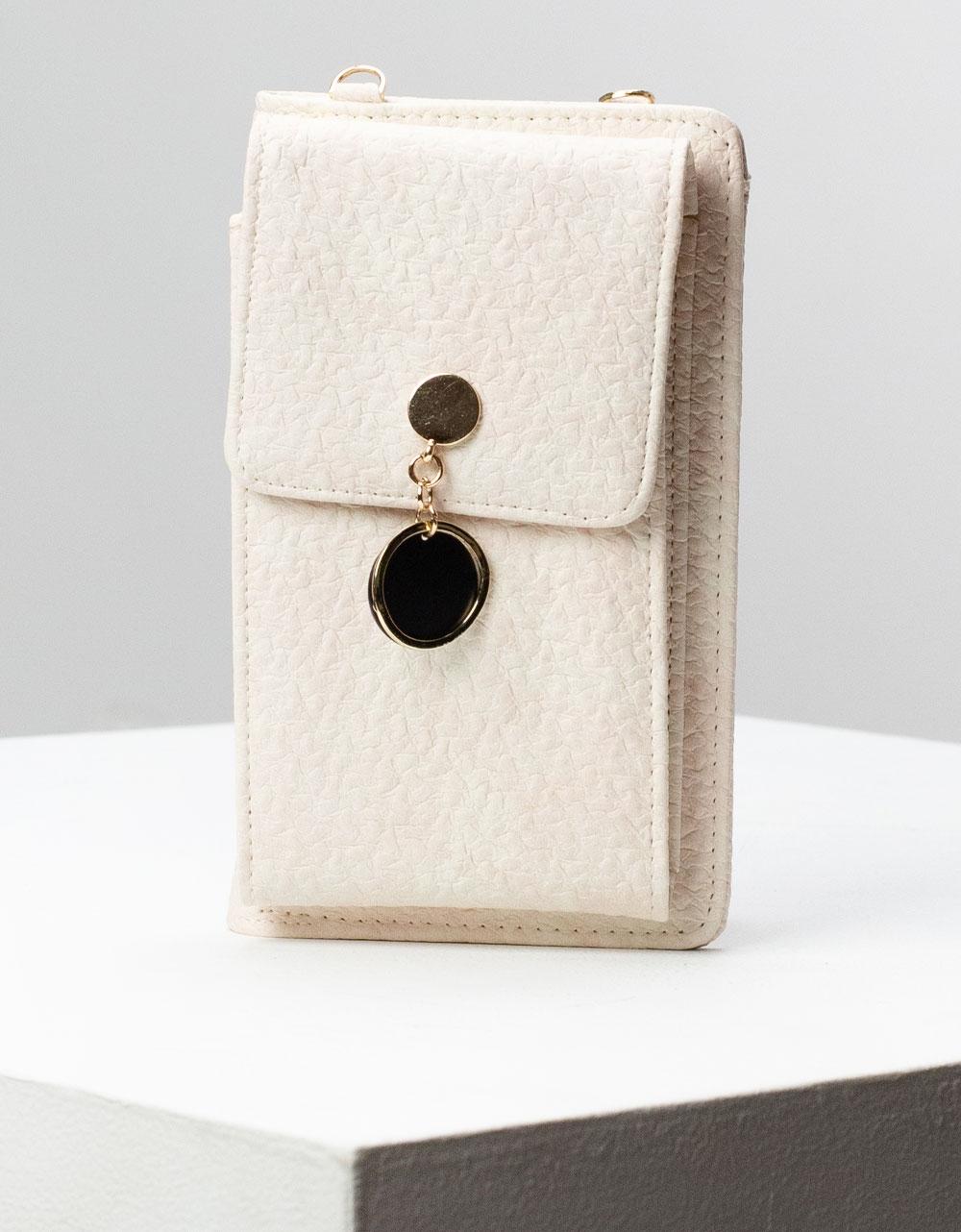 Εικόνα από Γυναικεία πορτοφόλια με εξωτερική θήκη κινητού και μεταλλικό διακοσμητικό Λευκό