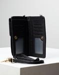 Εικόνα από Γυναικεία πορτοφόλια με εξωτερική θήκη κινητού και μεταλλικό διακοσμητικό Μαύρο