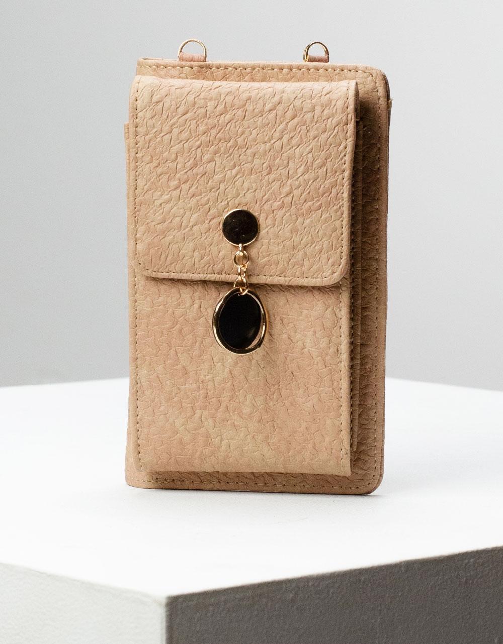 Εικόνα από Γυναικεία πορτοφόλια με εξωτερική θήκη κινητού και μεταλλικό διακοσμητικό Πούρο
